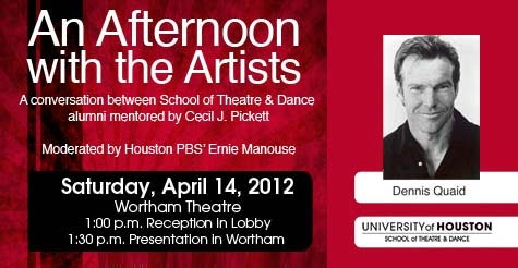 $20 tickets to An Afternoon with the Artists (featuring U of H Alumni Dennis Quaid, Brett Cullen, Cindy Pickett and Robert Wuhl)