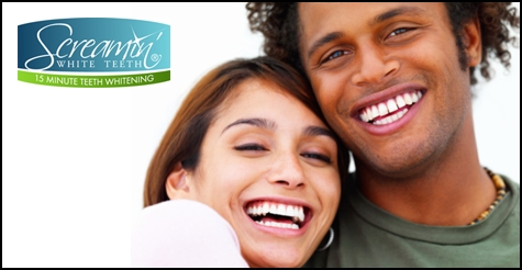 $89 for triple teeth whitening session at Screamin' White Teeth