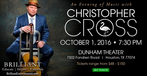 25% Off Tickets ---An Evening with Christopher Cross, Oct 1